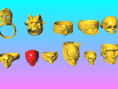 恶魔的呼唤-骷髅头戒指 1-6-3d打印模型