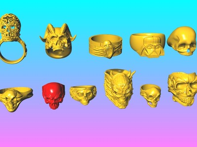 恶魔的呼唤-骷髅头戒指 7-11-3d打印模型