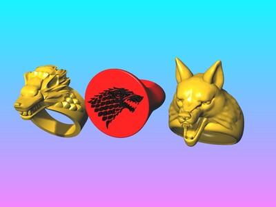 恶魔的呼唤戒指 -灰狼戒-3d打印模型