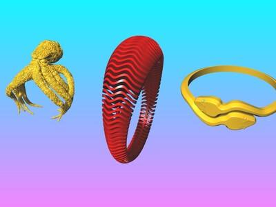 生擒猛兽动物戒指-Aㄖ打包-3d打印模型