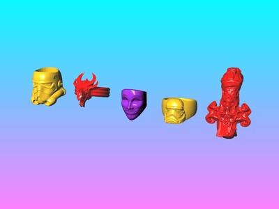 恶魔的呼唤戒指 戒指打包 C-3d打印模型