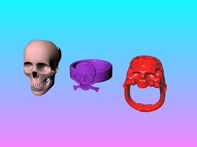 恶魔的呼唤打包 骷髅头戒指-3d打印模型