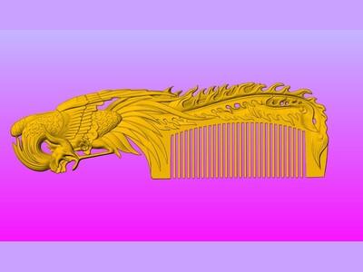 经典凤凰梳子-3d打印模型