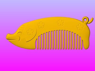 十二生肖之猪梳子-3d打印模型