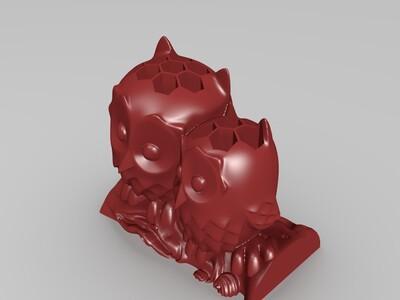 猫头鹰创意笔插-3d打印模型