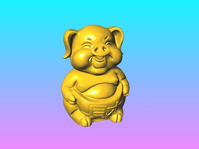 财猪存钱筒 1-3d打印模型