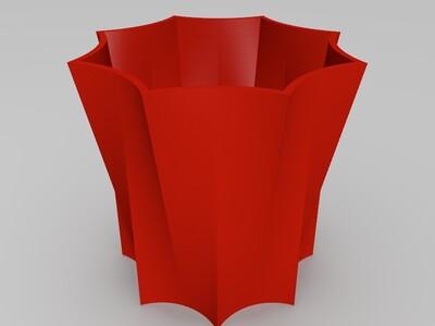 圆八角花盆-3d打印模型