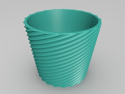 螺旋花盆-3d打印模型