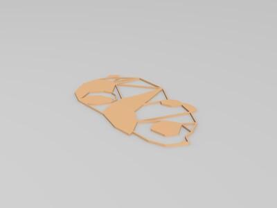 装饰墙2D镂空熊猫模型2-3d打印模型