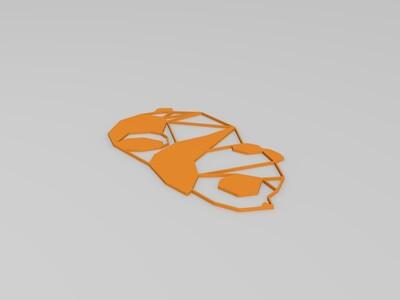 装饰墙2D镂空熊猫模型-3d打印模型