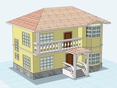 木制别墅-3d打印模型