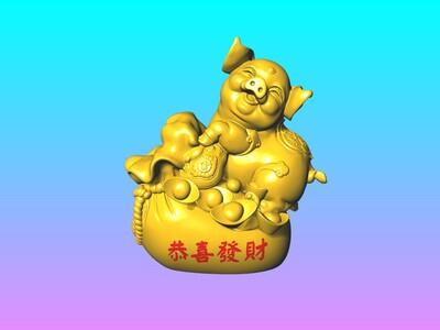 发财猪恭喜发财-赠送6个15公分春联 窗花-3d打印模型