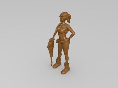 工作中的美女-3d打印模型