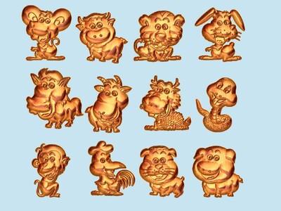 经典玉雕系列-十二生肖卡通 吊坠版-3d打印模型