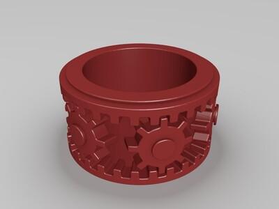可旋转齿轮戒指-3d打印模型