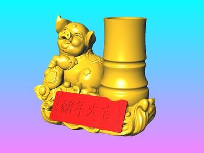 金猪年大吉笔筒1-赠送6个15公分春联 窗花-3d打印模型