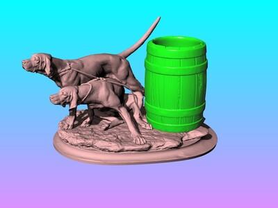 创意忠狗笔筒-3d打印模型