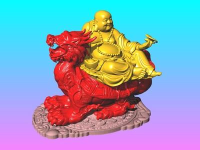 龙龟弥勒佛 (聚财聚福) 摆件 (1)-3d打印模型