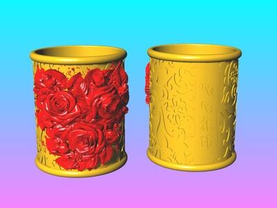 爱情宣言玫瑰花笔筒 1-3d打印模型
