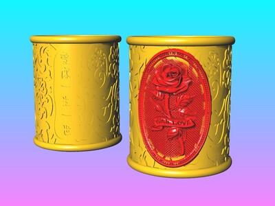 爱情宣言玫瑰花笔筒 2-3d打印模型