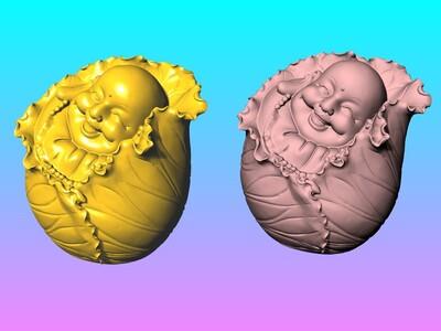 荷叶开心弥勒佛-3d打印模型