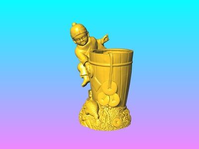 金童戲金蟾筆筒-3d打印模型