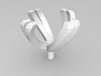 90分钻石扭臂戒指-3d打印模型