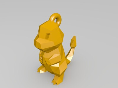 小火龙加钥匙扣-3d打印模型