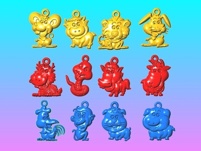 玉雕系列-十二生肖卡通 项链 吊坠-3d打印模型