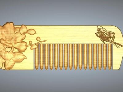 山茶花蝴蝶梳子-3d打印模型