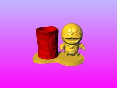哆啦A梦笔筒-3d打印模型
