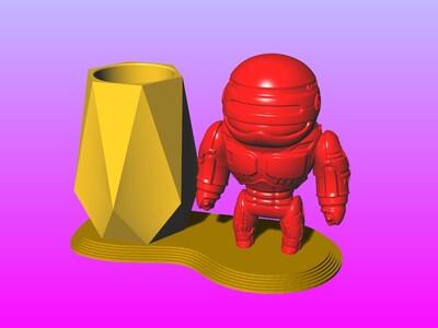 机器战警笔筒 1-3d打印模型