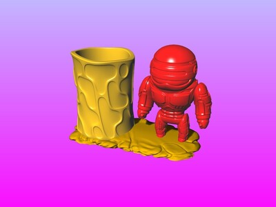 机器战警笔筒 2-3d打印模型