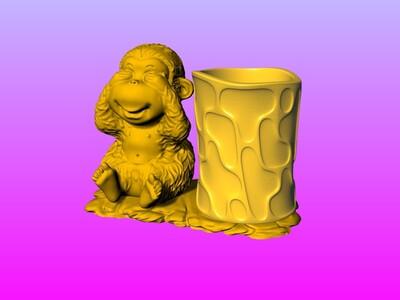 赖皮猴笔筒 2-3d打印模型