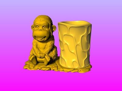 赖皮猴笔筒 4-3d打印模型