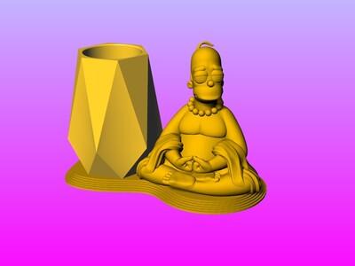 河马佛笔筒 1-3d打印模型
