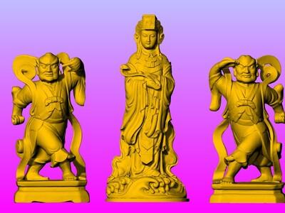 台湾大甲镇澜宫妈祖&左右护法-3d打印模型