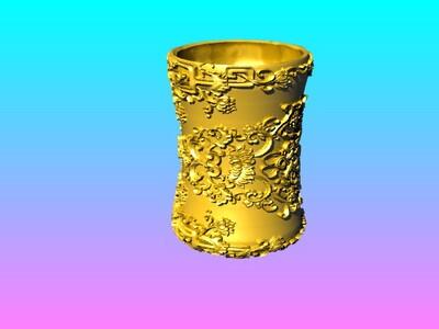 洋花笔筒-3d打印模型