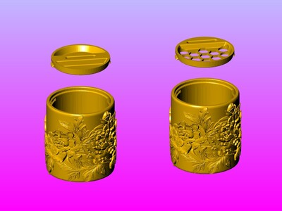 牡丹戏鸟笔筒&存钱罐双用-3d打印模型