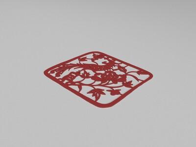 孔雀窗花-3d打印模型