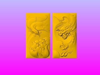 情侶一对龙凤牌子-3d打印模型