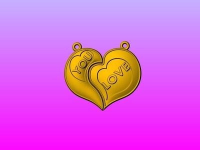 爱心情侣心形对牌-LOVE-3d打印模型