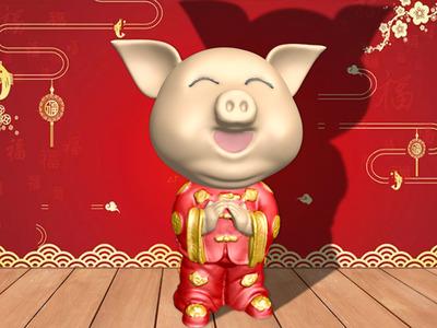 猪年招财摆件-3d打印模型