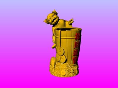 金猪贺招财进宝笔筒-3d打印模型