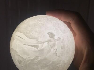 3d打印100mm直径嫦娥飞月 月球灯罩模型-3d打印模型