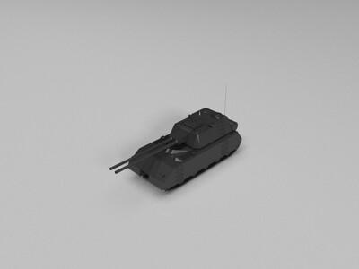 双管超级坦克-3d打印模型