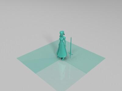 动漫女孩saber-3d打印模型
