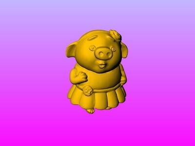 豬小姐公仔-3d打印模型