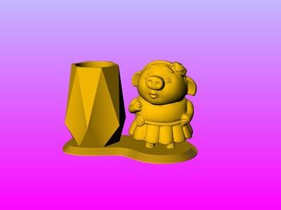猪小姐公仔笔筒 1-3d打印模型