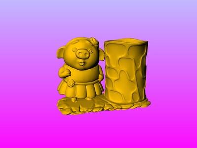 猪小姐公仔笔筒 2-3d打印模型